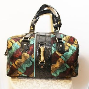 L.A.M.B. Gwen Stefani Metallic Satchel Handbag